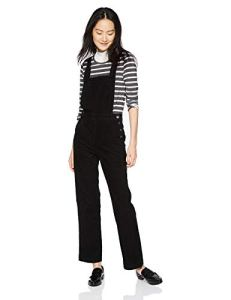 AG Adriano Goldschmied Women's Gwendolyn Straight Leg Overall, Sulfur Black, Large