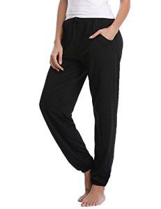 Aibrou Bas de Pyjama Femme 100% Coton Pantalon de Pyjama Femme Vêtement de Nuit Confortable, Noir-1, M