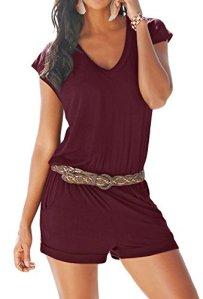 Aitos Femme Combishort Casual Romper Jumpsuit Bodysuit Col V Eté Plage Combinaison Short sans Manches avec Poche Playsuit sans Ceinture Vin Rouge S
