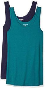 Amazon Essentials Wae45056sp18 – Débardeurs – Lot de 2 – Femme – Vert (Dark Green/Navy) – XL