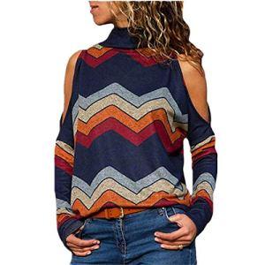 Amytrade Pull pour Dames, Chemisier à Manches Longues pour Femmes T-Shirt Chemisier pour Dames à épaules Dénudées Mode Géométrique Imprimé Floral Pullover Coloré Tee Top Rayures