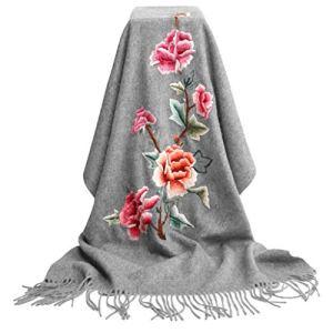 Châles Écharpe en Cachemire Écharpe Printemps Et Automne Hiver Écharpe Chaude Brodée Dames en Cachemire (Color : Gray, Size : 205 * 70cm)