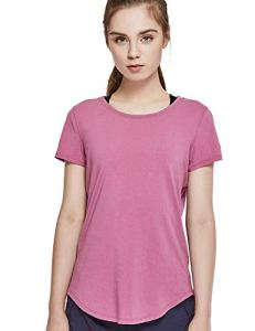 CRZ YOGA Femme Pima Cotton T-Shirt de Sport à Manches Courts en Coton Rose Mousse M(42)