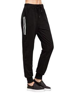 DIDK Femme Pantalon Survêtement Pantalons avec Applique Grand Taille Avoir Poches Taille Haute pour Sport Casual – Noir 1 – Taille XL