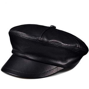 Easy Go Shopping Chapeau de Bonhomme de journaux Vintage en Cuir avec béret de Bord, Large pour Femme (Taille : L)