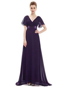Ever-Pretty Robe de Soiree en Double V-col et Manches Courtes 58 Violet