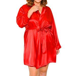 Feitb sous-vêtements Sexy Mode Femmes Satin de Soie érotique Femme Nuisette Sexy Tentation Grande Taille Peignoir Peignoir sous-vêtements Sexy Mis Costume Trois Pièces avec String (Rouge, M)