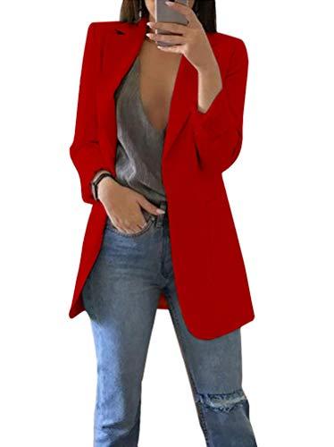 Femme Manteau Tops Manches Longues Blazer Veste Slim Jacket Casual pour Printemps Automne A Rouge FR 42