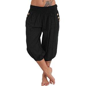 Feytuo Femme Pantalon Court 3/4 Sarouel Pantacourt Legging Casual Eté Confortable Chino Short Mode Plazzo Trousers Pants sans Ceinture