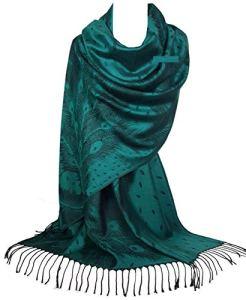 GFM Pashmina Style Shawl Echarpe en motifs Peacock Plumes (PCKPASH-P3)
