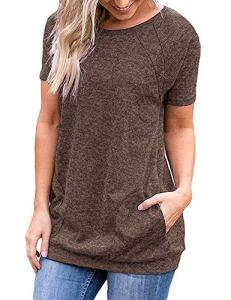 iClosam T-Shirt Femme à Manches Courtes Grande Taille Été Ample Casual Tee Shirt Top (Café, XL)