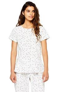 Iris & Lilly Haut de Pyjama Imprimé Étoiles Femme, Blanc (White/grey), X-Large