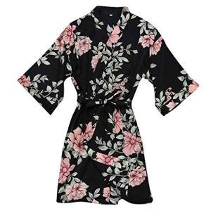 KPILP Peignoir Satin Robe de Chambre Kimono Femme Sortie de Bain Nuisette Déshabillé Vêtements de Nuit Satin Lingerie Dentelle Peignoir Robes de Mariée(Noir,FR-40/CN-L)
