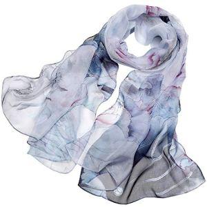 LD Foulard Femme 100% Soie de Mûrier Écharpe Elégante Mode Hypoallergénique 175 * 65cm (Gris Noir Poudre)