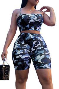 Les 2 Morceaux Étaient des Femmes L'ensemble Haut Short Camouflage Blue M