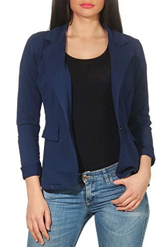 Malito Femme Classique Veste Basic-Look Court Jersey Blazer 1654 (Bleu foncé, S)