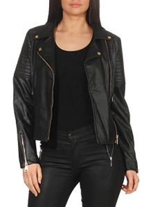 Malito Femme Simili Cuir Veste Sakko Blazer Faux Leather 5177 (Noir, M)