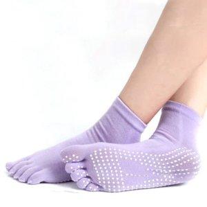 Minkoll Femmes antidérapantes, Coton Yoga Gym Toe Chaussettes de Massage Coloré Full Grip Chaussettes Talon (Violet)