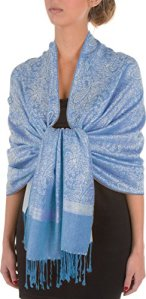 Sakkas 70 «x 28 «souple Pashmina Feel varié Paisley Conception châle / Wrap / Stole – Bleu gris