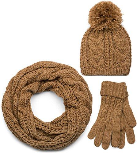 dun bonnet et de gants femmes 01018208 bonnet /à pompon et gants styleBREAKER Ensemble compos/é dune /écharpe /écharpe loop avec motif tricot/é