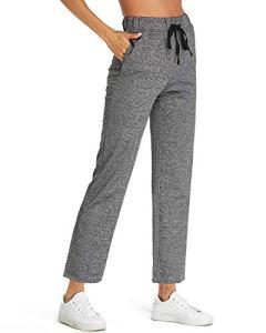 SUNNYME Femme Pantalon de Sport Rayure Pants Grande Taille Evasé Bas Casual Chic Jogging Yoga S-2XL X-Gris Foncé 2XL