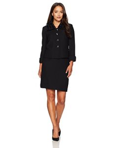 Tahari by Arthur S. Levine Women's Petite Size Crinkle Crepe Skirt Suit
