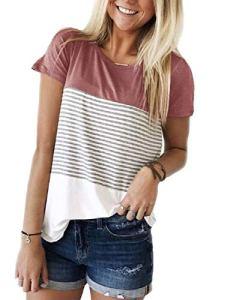 Tee Shirt Femme Casual T-Shirt Femme Rayé Correspondance des Couleurs Tops Ete en Haut Manches Courte