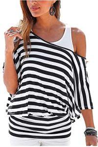 Uniquestyle Femme Été Manches de T-Shirt Deux Pièces Rayure 2 pièces Chemises Off épaule Blouse Black1 M