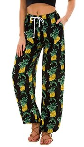 Urban GoCo Femmes Boho Harem Pantalon Dames Floral Imprimer Élastiquée Taille Pantalon (Large, 15)