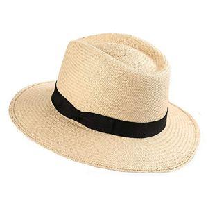 XJYA Femmes Bord Large Paille Panama Rouler Le Chapeau Feutre Chapeau de Soleil de Plage Été Pliable Voyage de Disquette Chapeau UV emballable avec Cordon Anti-Vent Tissu végétal Pur UPF 50