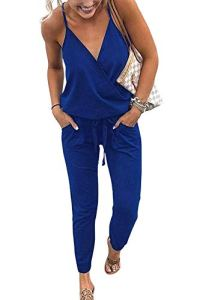 Yieune Combishort de Plage Été Femme Sexy Romper Jumpsuit Manche Courte Casual Chic Combinaisons de Soirée (Bleu XL)