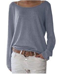 Zanzea Femmes Automne Casual Vrac Lâche Chemise Manches Longues Coton T-Shirt Top Blouse Pull Shirt, 01-marine, FR 38-40/Etiquette Taille M