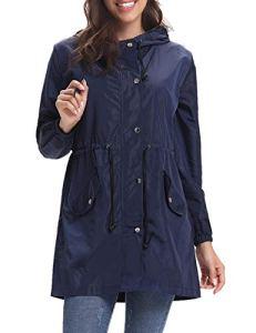 Aibrou Femme Manteau Imperméable Veste de Pluie Pliable Long Coupe-Vent à Manches Longues pour Sport Camping Randonnée, Marine, M