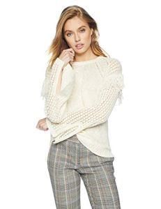 BCBGeneration Women's Fringe Pullover Sweater, Off White, XXS