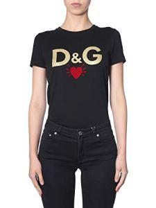 Dolce e Gabbana F8H32TG7TLBN0000 T-Shirt en Coton pour Femme Noir – Noir – 38 FR