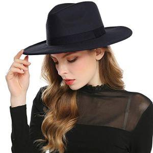 Haimeikang Chapeau Fedora Rétro Feutre de Laine Chapeau Femme Filles Hiver Derby Church Panama Style (Noir)