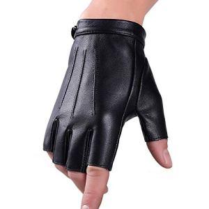 Hiver Véritable En Cuir Mitaines Gants Fuxury Laine Écran Tactile Texting Dress Conduite Gant pour Hommes Femmes Moto (L)