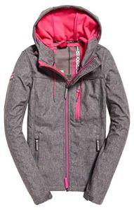 Superdry Hooded Windtrekker Veste de Sport, Gris (Storm Grey Grit/Sporty Pink Xf1), Medium (Taille Fabricant: 12.0) Femme