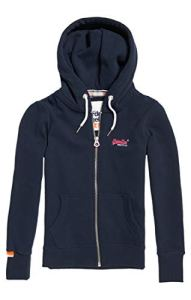 Superdry Label Ziphood Pull, Bleu (Eclipse Navy 98T), Medium (Taille Fabricant: 12) Femme
