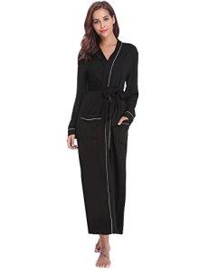Sykooria Femmes Peignoirs de Bain en Tricot Coton Casual l'hôtel Spa Sauna Vêtements de Nuit avec 2 Poches Manches Longues, Noir, S
