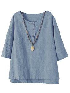 Vogstyle Femmes T-Shirts Coton Lin Chemise Chic Simple Haut Jacquard Tops Tunique Bleu Clair XL