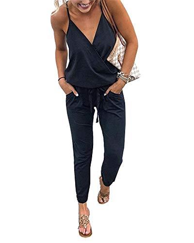 Walant Mode Femmes Combinaison Dos Nu sans Manches Col V Imprimé Floral Camisole Barboteuse Jumpsuit D'été Chic Élégant Slim Pantalon Loose Casual, Noir 3, M