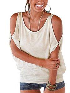 YOINS Tee-Shirt Femme Sexy Été Tops Manches Chauve-Souris Épaules Dénudées Chic Haut Blouse Col Round T-Shirt Grande Taille, Blanc, EU 40-42
