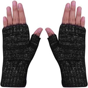 Amorismo Mitaines en tricot pratiques agréablement douces et moelleuses Noir