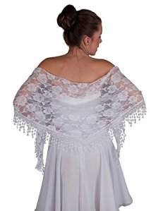 Boutique-Magique étole dentelle femme mariage cérémonie soirée, Blanc, Taille unique