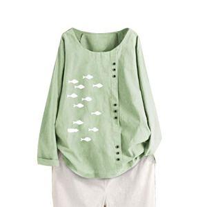 Chemisier FNKDOR Aux Femmes Tunique Manche Longue Lin T-Shirt Coton CaftanBouffant Poisson Imprimé Hauts de Chemise EE Top Haut Blouse(A Vert,3XL)