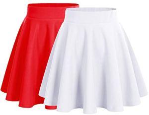 Dresstells Jupe Mini Courte évasée en Polyester, 2-Pack(White+Red) L