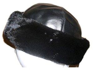 FursNewYork Acajou Mink Cuffed Hat avec Cuir Noir Couronne 2L