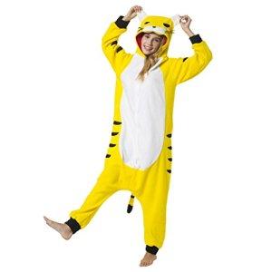 Katara 1744 – Grenouillère Combinaison pour Adultes Tenue de Nuit Pyjama Kigurumi – Taille XL 175-185cm Tigre