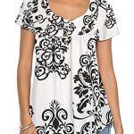 KISSMODA Blouses à Manches Courtes pour Femmes T-Shirts imprimés Floraux Blanc Petit